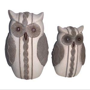 Boho Owl Statues Neutral Weaved pattern